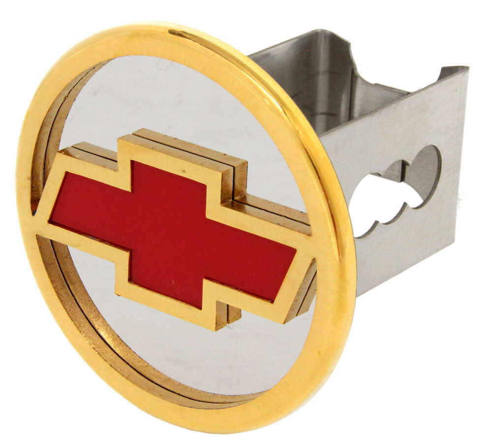 "Chevrolet Bowtie Hitch Cover - 2"" Hitches - Stainless Steel - Gold and Red Logo AUT-CHVR-G"