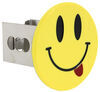 """Smiley Face with Tongue Hitch Cover - 2"""" Hitches - Stainless Steel - Yellow Round AUT-SMIT-C"""