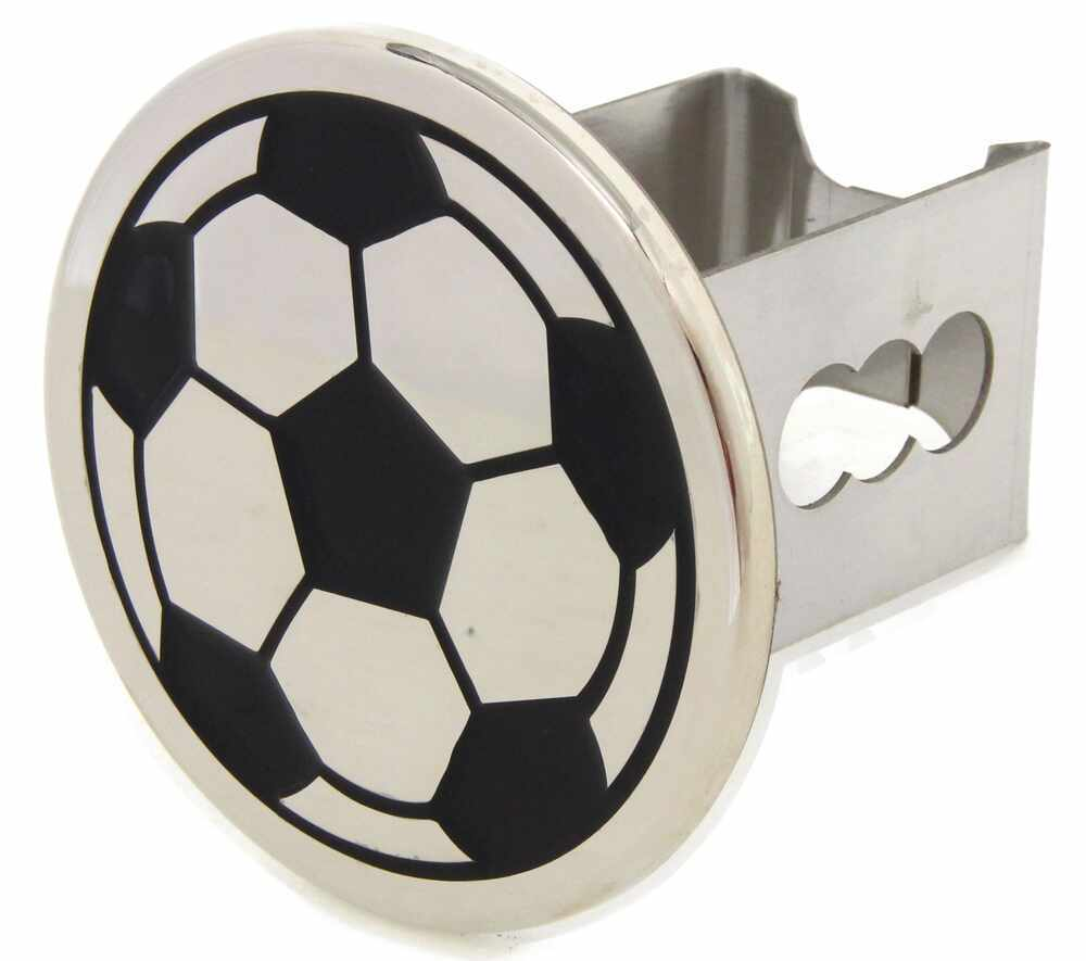 """Soccer Ball Trailer Hitch Cover - 2"""" Hitches - Stainless Steel - Chrome Fits 2 Inch Hitch AUT-SOC-C"""