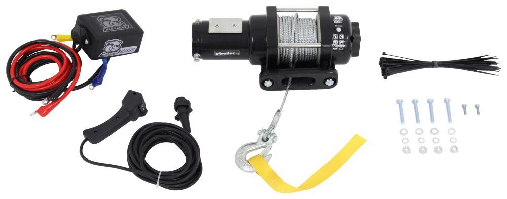 Bulldog Winch Trailer Winch - Wire Rope - Hawse Fairlead - 3,400 lbs Plug-In Remote BDW15017