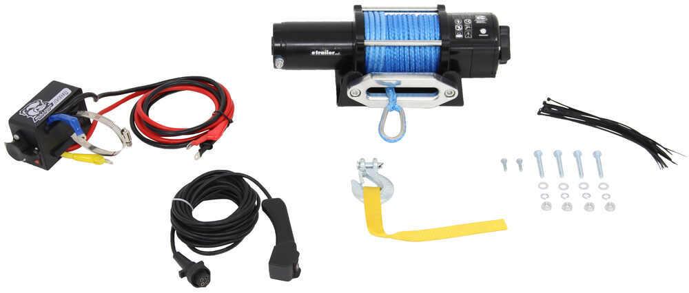 Bulldog Winch Trailer Winch - Synthetic Rope - Hawse Fairlead - 4,400 lbs Medium Line Speed BDW15020
