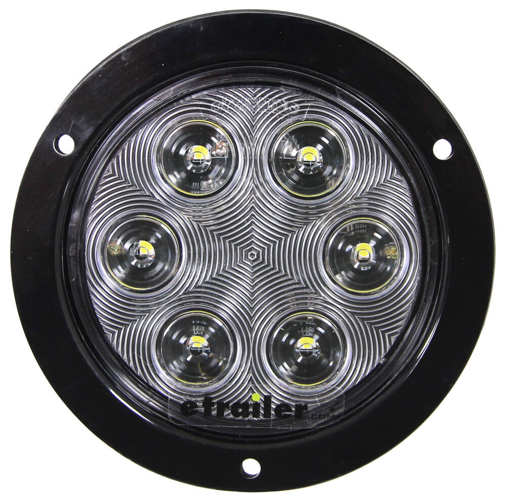 LED Backup Light for Truck or Trailer - Submersible - 6 DIodes - Round - Black Flange - Clear Lens Recessed Mount BUL06CFB