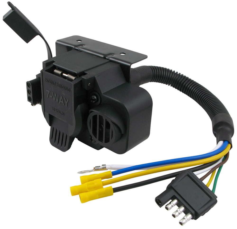 curt trailer connector adapter with backup alarm - 4-way to 7-way rv and 4-way  flat curt wiring c57102  etrailer.com