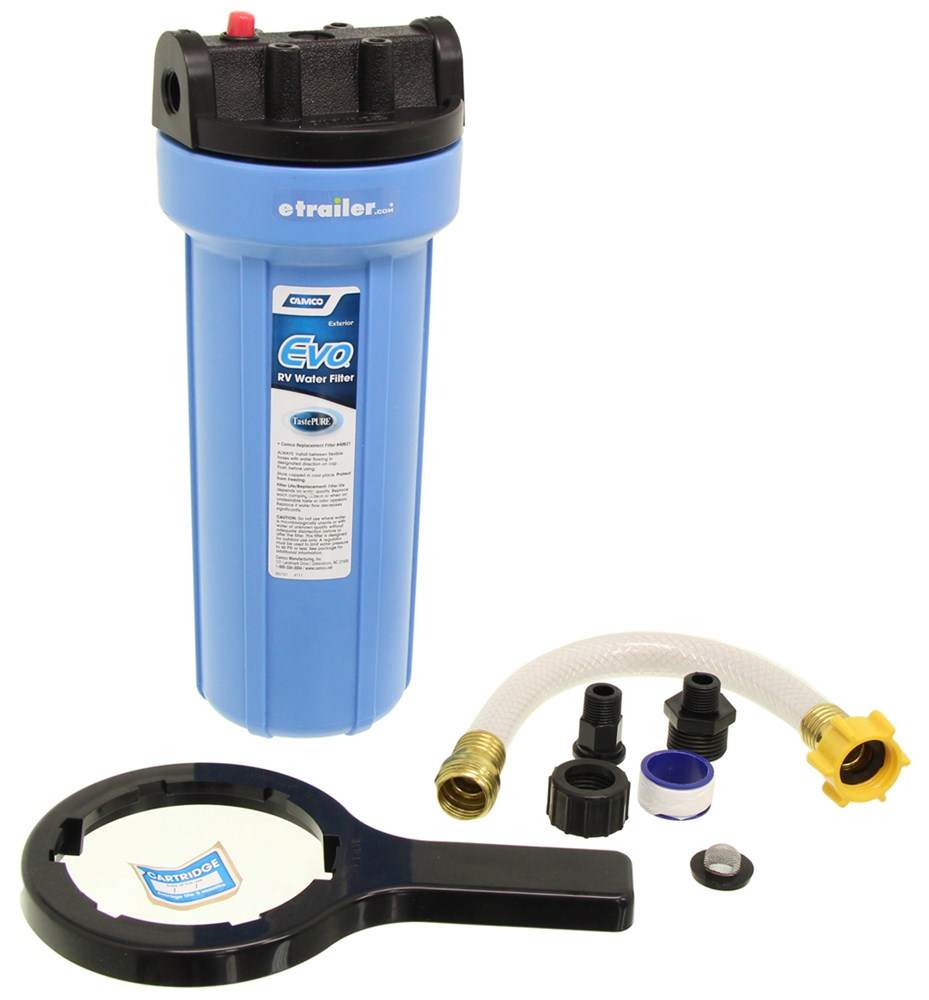 Camco Rv And Marine Premium Water Filter W Replaceable Cartridge And Hose Extension Kdf Carbon Camco Rv Fresh Water Cam40631