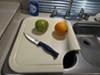 """Camco Sink Mate RV Polyethylene Cutting Board - 12-1/2"""" Long x 14-1/2"""" Wide - Almond 11-13/16L x 7-7/8W x 1/2T Inch CAM43859"""