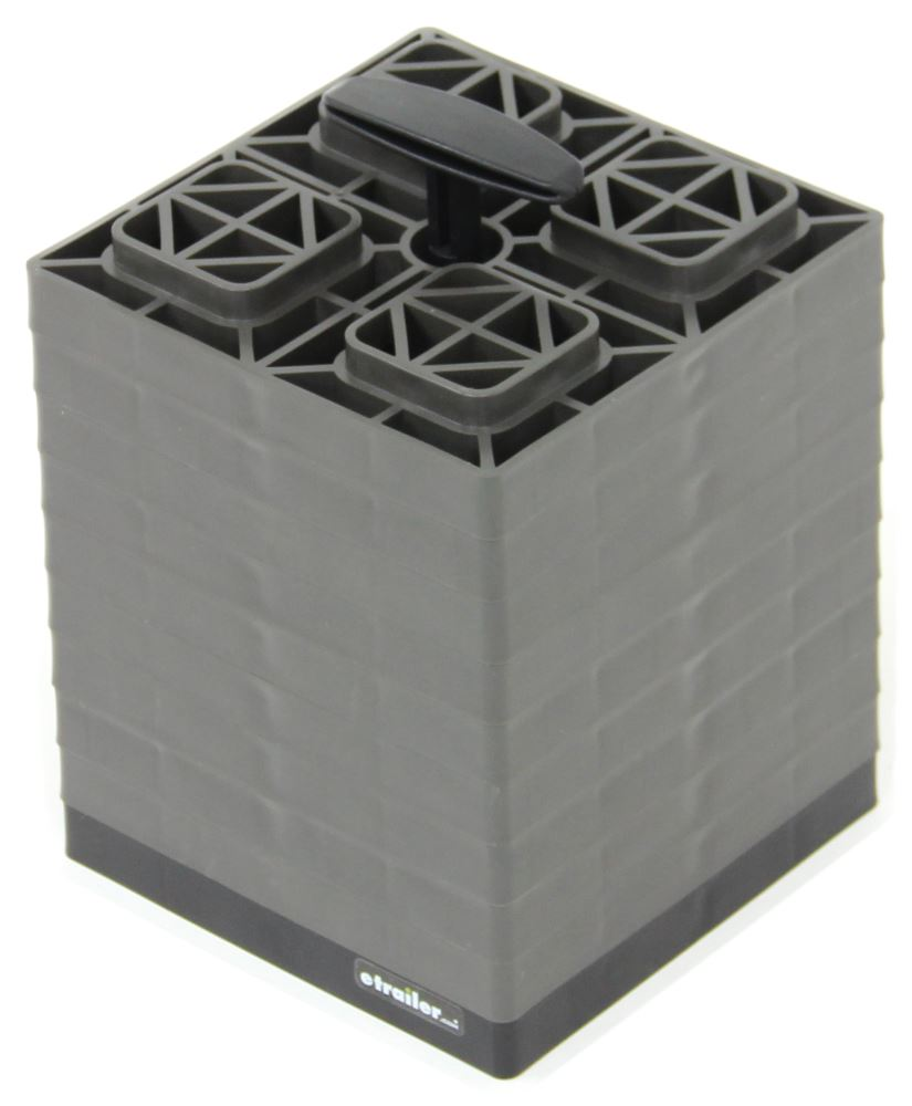 "FasTen RV Leveling Blocks w/ Carrying Handle - 8-1/2"" x 8-1/2"" - Gray - 2x2 - Qty 10 10 Blocks CAM44521"