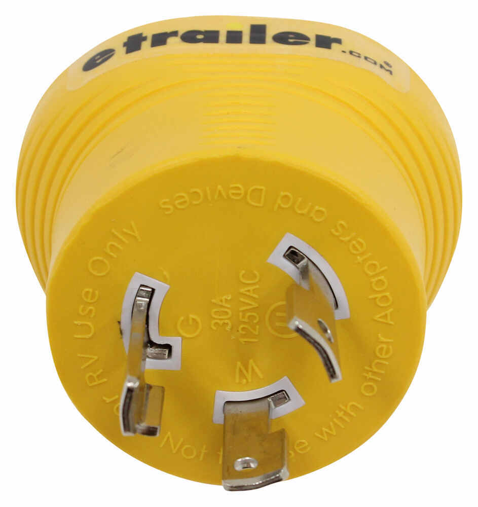 Power Grip Generator Plug Adapter for RV Power Cord - 30 Amps - 3 Prong Twist Lock 30 Amp to 30 Amp CAM55333
