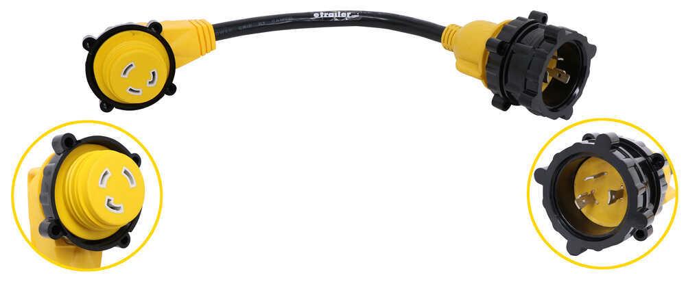 "Power Grip 90-Degree Locking RV/Marine Power Cord w/ Handle - 30 Amps - 18"" Long 1-1/2 Feet Long CAM55532"