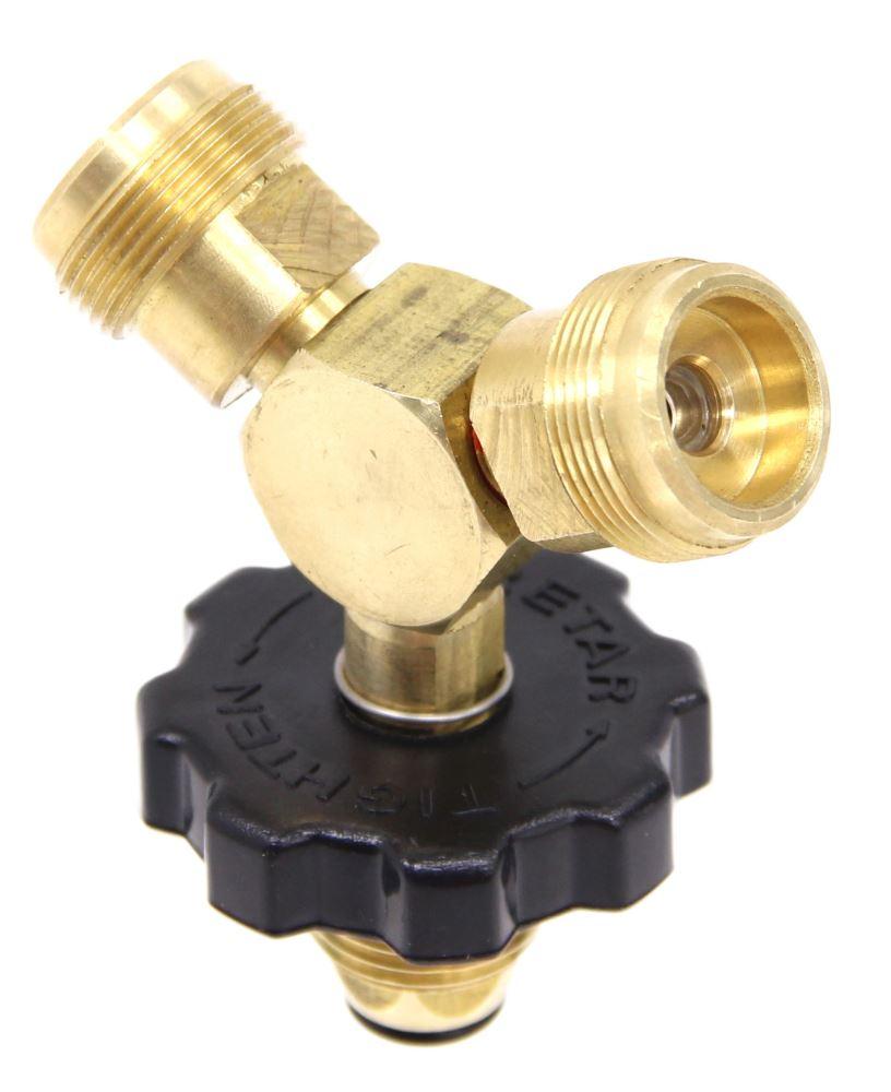 "Camco Propane ""Y"" Adapter w/ Handwheel - Male P.O.L. x (2) 1""-20 Male POL - Male CAM59893"