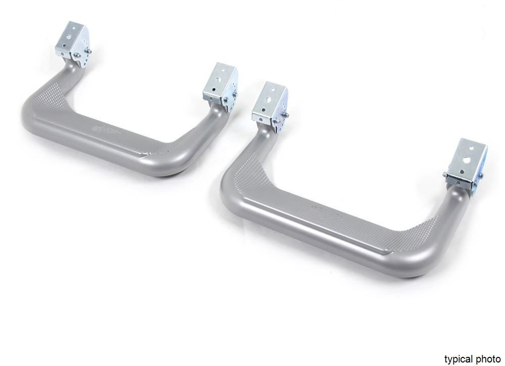 "Carr Custom-Fit Side Steps - Super Hoop - Silver Powder Coated Aluminum - 17"" Step - 1 Pair Aluminum CARR128224"