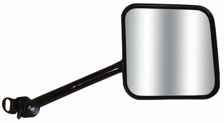 CIPA Replacement Side Mirror for Jeep Wrangler - Black Powder Coated Aluminum - Passenger Side Fits Passenger Side CM44801