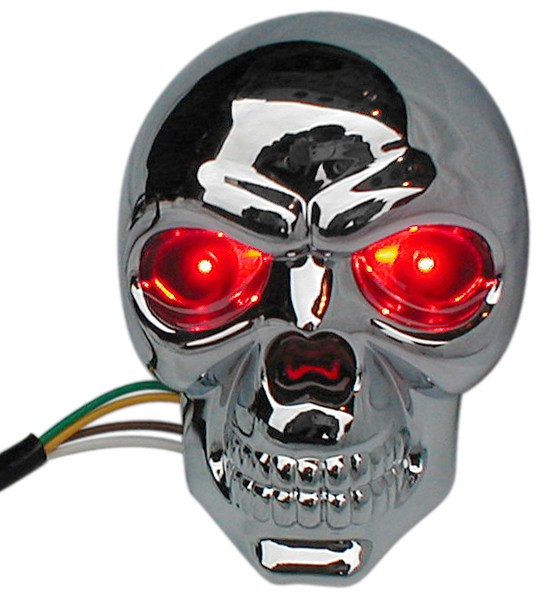 Skull with L.E.D. Eyes Trailer Hitch Receiver Cover