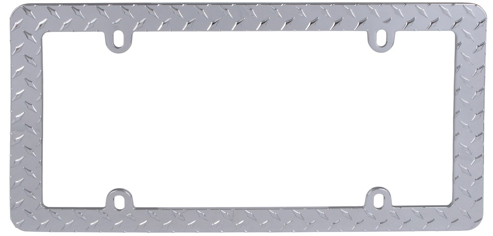 Diamond Plate License Plate Frame - Chrome Plain CR30830