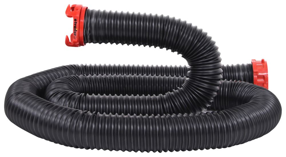 """Dominator RV Sewer Hose Extension w/ 3"""" Swivel Fittings - 10' Long - Black Poly 23 Mil - Thick D04-0200"""
