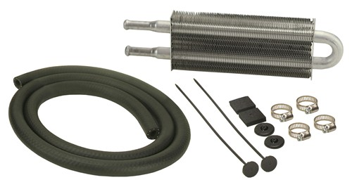"""Derale Dyno-Cool Tube-Fin Power Steering Cooler - 9-1/8"""" Wide With 11/32 Hose Barb Inlets D12213"""
