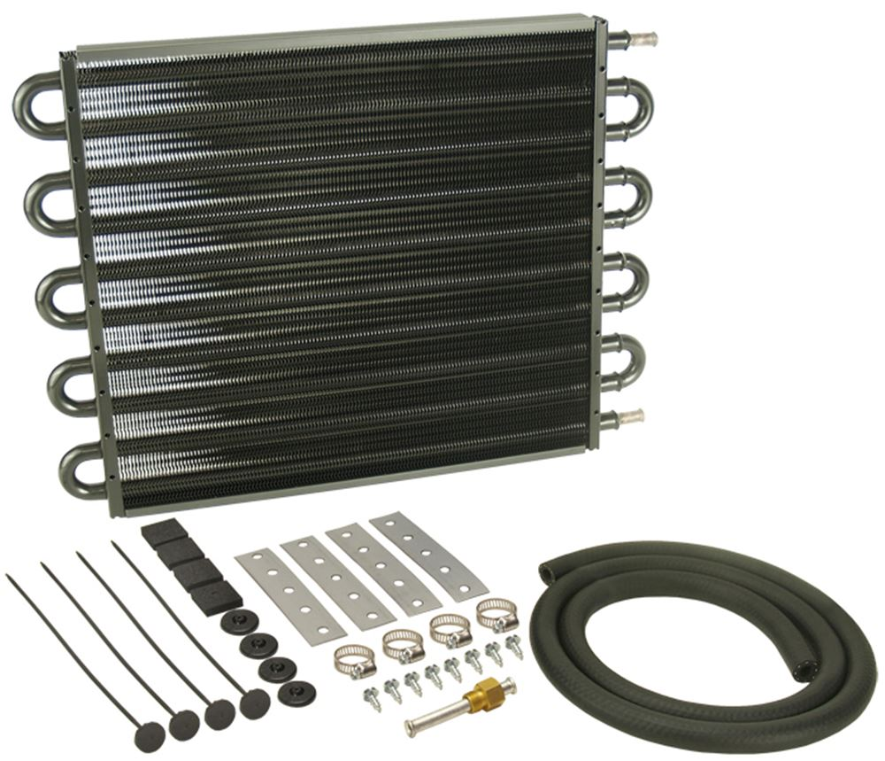 Derale Series 7000 Tube-Fin Transmission Cooler Kit w/ Hose Barb Inlets - Class IV - Standard With 11/32 Inch Hose Barb Inlets D13205