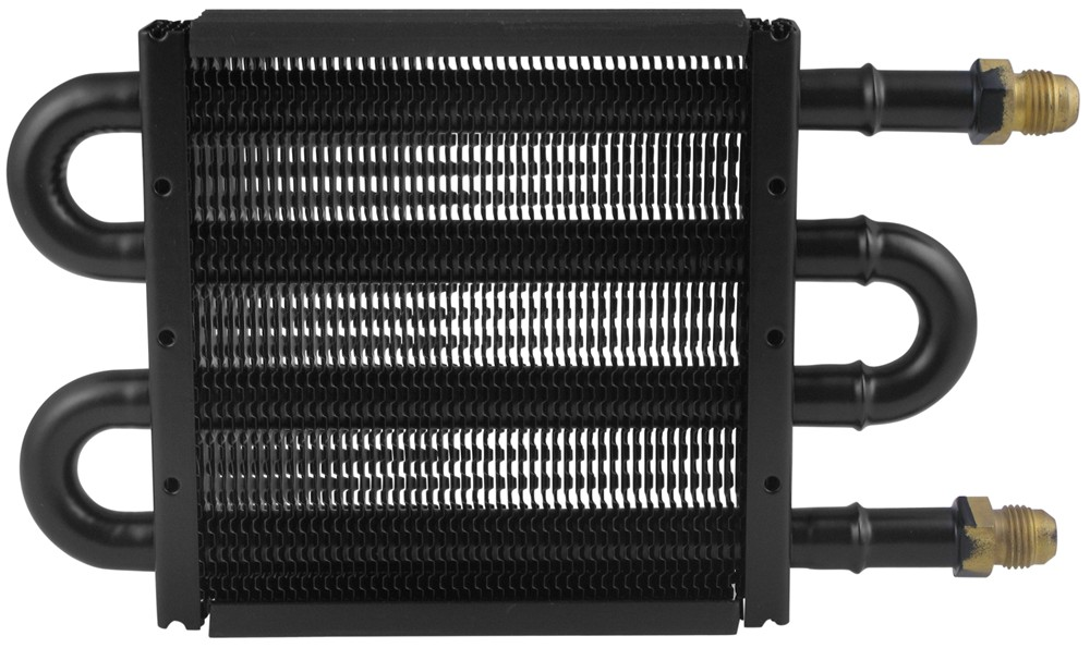 """Derale Tube-Fin Power Steering Cooler with AN Inlets - 5"""" Tall 8-1/4W x 5T x 3/4D Inch D13309"""