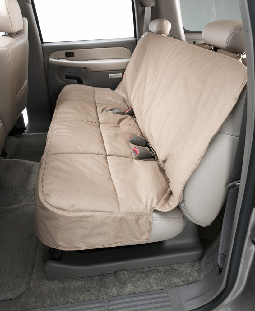 Canine Covers Semi-Custom Seat Protector for Rear Bench Seats with Headrests - Taupe Second DSC3025TP