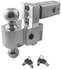 fastway trailer hitch ball mount drop - 4 inch rise 5 class v 10000 lbs gtw self-locking adjustable 2-ball stainless balls 2.5 drop/5