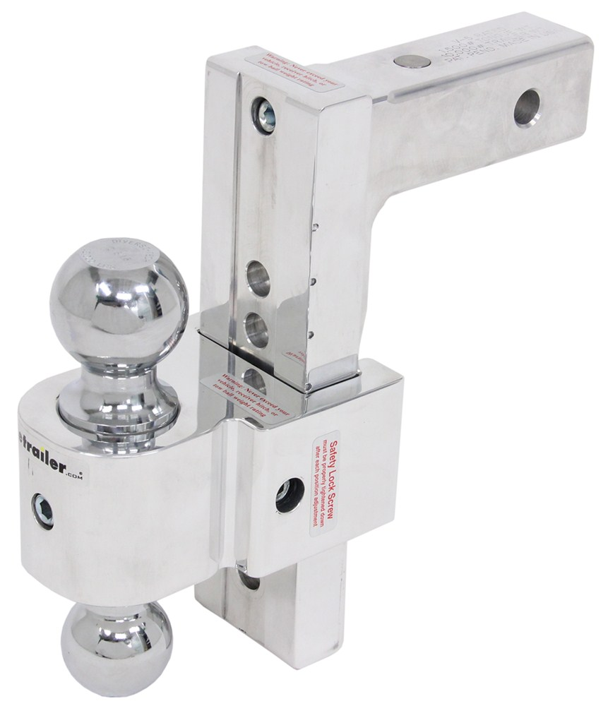 """Solid-Tow Adjustable 2-Ball Mount w Chrome Balls - 2"""" Hitch - 8"""" Drop, 9"""" Rise Fits 2 Inch Hitch DTSTBM6800"""