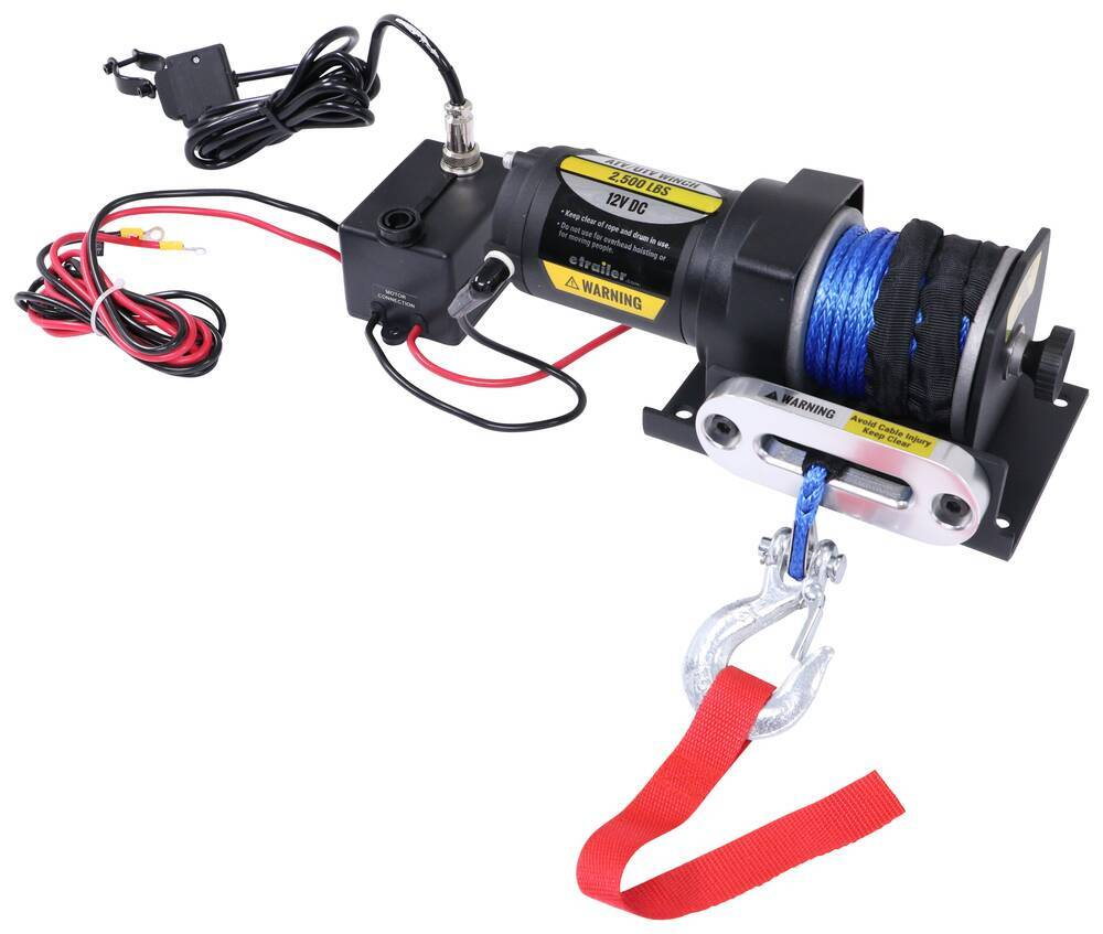 etrailer ATV Winch - Synthetic Rope - Hawse Fairlead - 2,500 lbs Synthetic Rope E98988