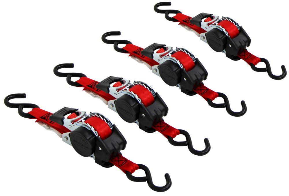 "Erickson Re-Tractable Ratchet Straps w/ Push-Button Releases - 1"" x 10' - 400 lbs - Qty 4 4 Straps EM04418"