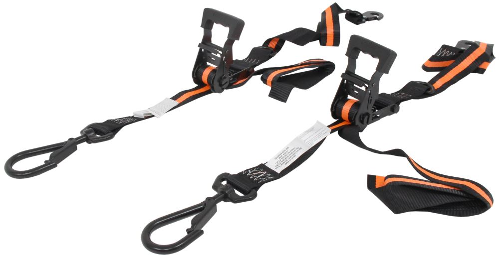 "Erickson Big Hook Ratchet Tie-Down Straps w/ Swivel Hooks - 1-1/2"" x 8' - 667 lbs - Qty 2 Safety Hooks,Swivel Hooks EM05715"