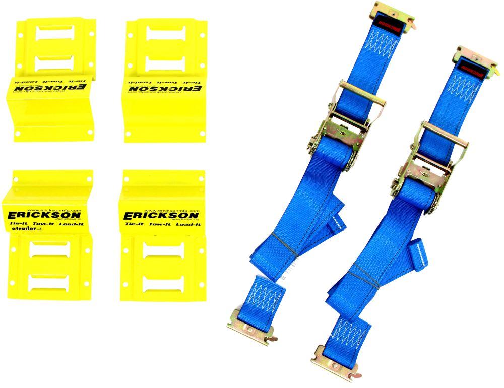 Erickson ATV E-Track Tie-Down Kit w/ Ratchet Straps and Wheel Chocks - 1,500 lbs Manual EM09160