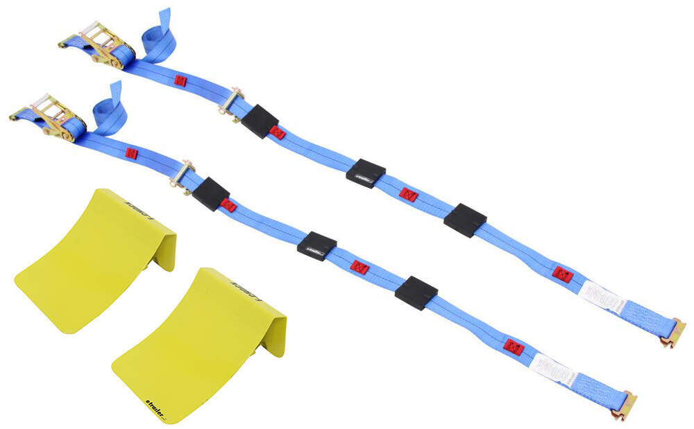 Erickson E-Track Tie-Down Kit w/ 2 Ratchet Straps with Roller Idlers and 2 Wheel Chocks - 1,100 lbs 11 - 20 Feet Long EM58523-09162