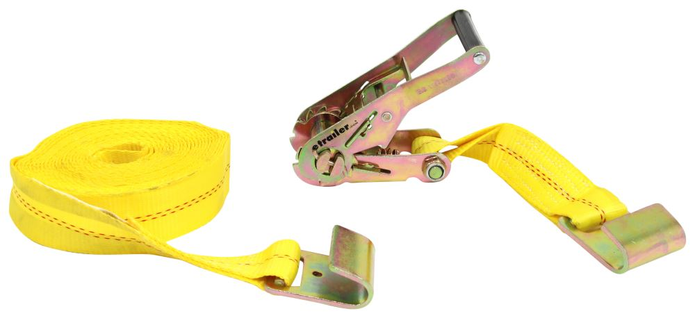 Erickson 58540 Yellow 2 x 40 Ratchet Strap Tie-Down with Flat Hooks