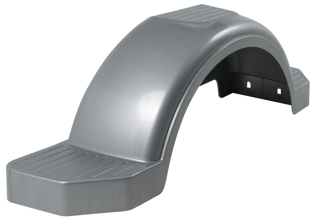 "Fulton Single Axle Trailer Fender with Top and Side Steps - Silver Plastic - 13"" Wheels - Qty 1 40 Inch Long F008593"
