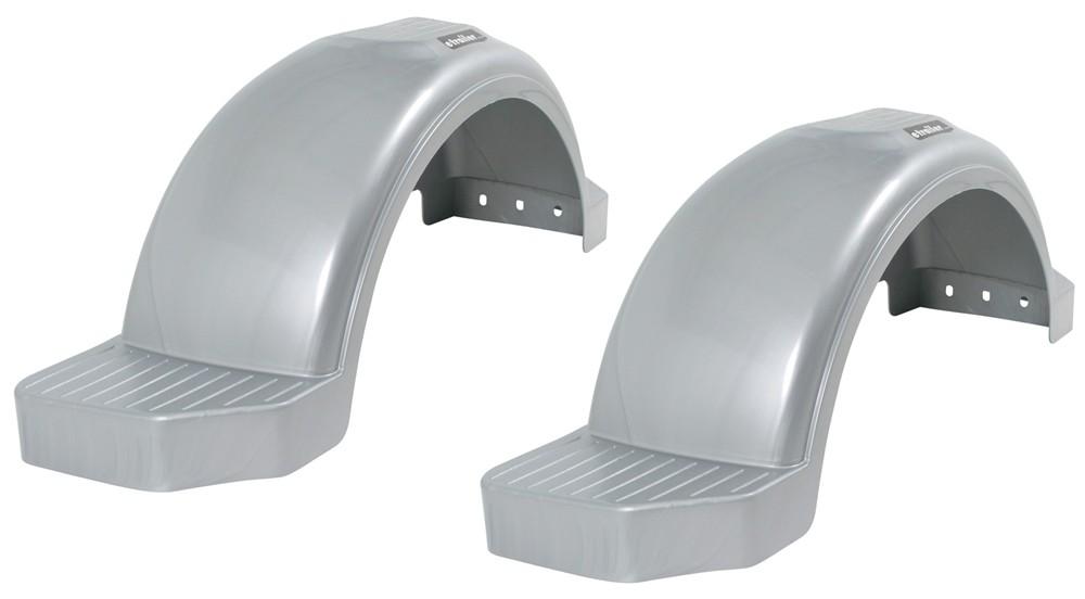 "Fulton Single Axle Trailer Fenders w Top and Side Steps - Silver Plastic - 15"" Wheels - Qty 2 15 Inch Wheels F008595-2"