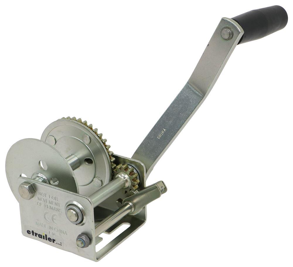 "Fulton Single Speed Trailer Winch - 7"" Long Handle - Rope or Strap - Zinc - 900 lbs Standard Hand Crank F142002"