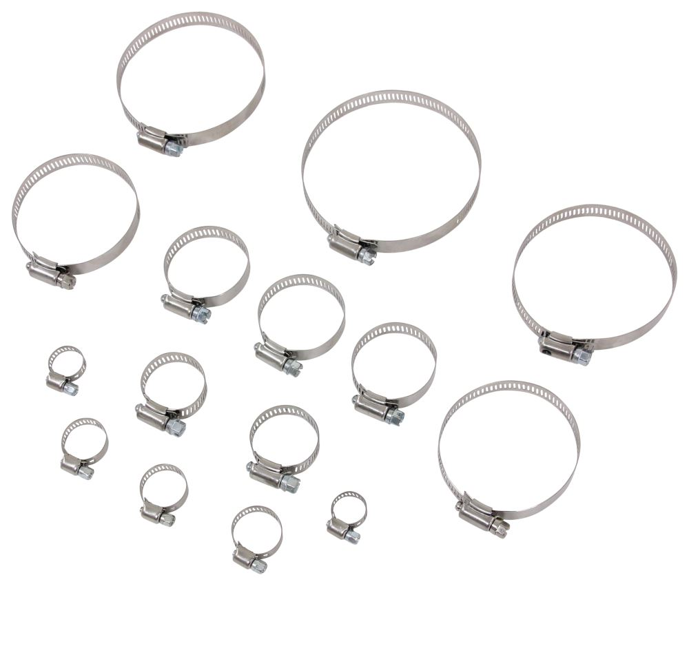 Valterra Hose Clamps - Stainless Steel - Assorted Sizes - Qty 15 Hose Clamps H03-0075VP