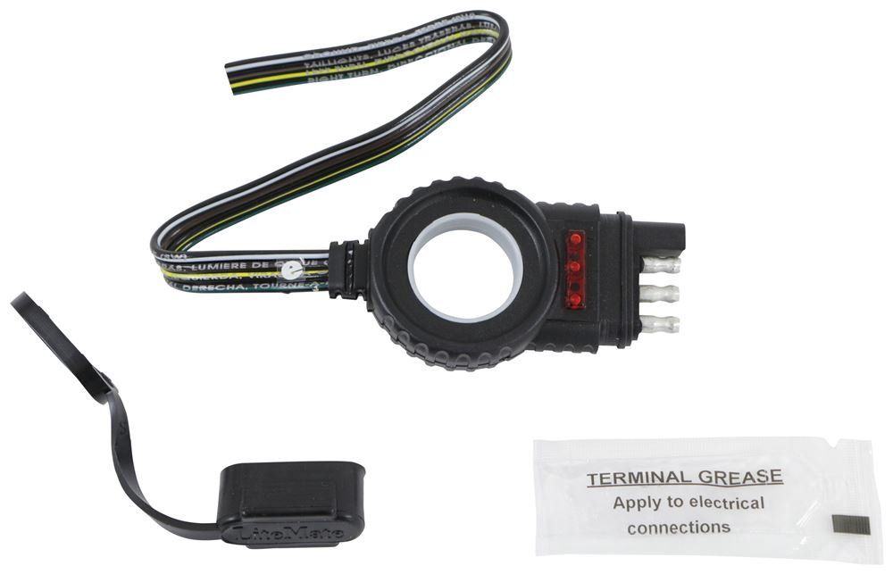 """Hopkins Endurance Easy-Pull Harness with 4-Pole Flat Connector - LED Tester - Trailer End - 12"""" Plug and Lead HM48138"""