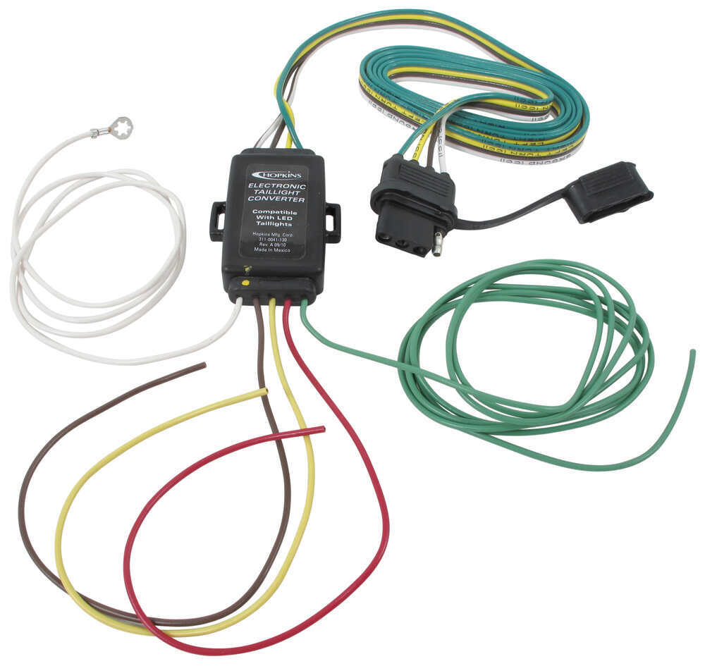 Hopkins Tail Light Converter Kit with 4-Way Flat Connector - LED Compatible  Hopkins Wiring HM48895etrailer.com