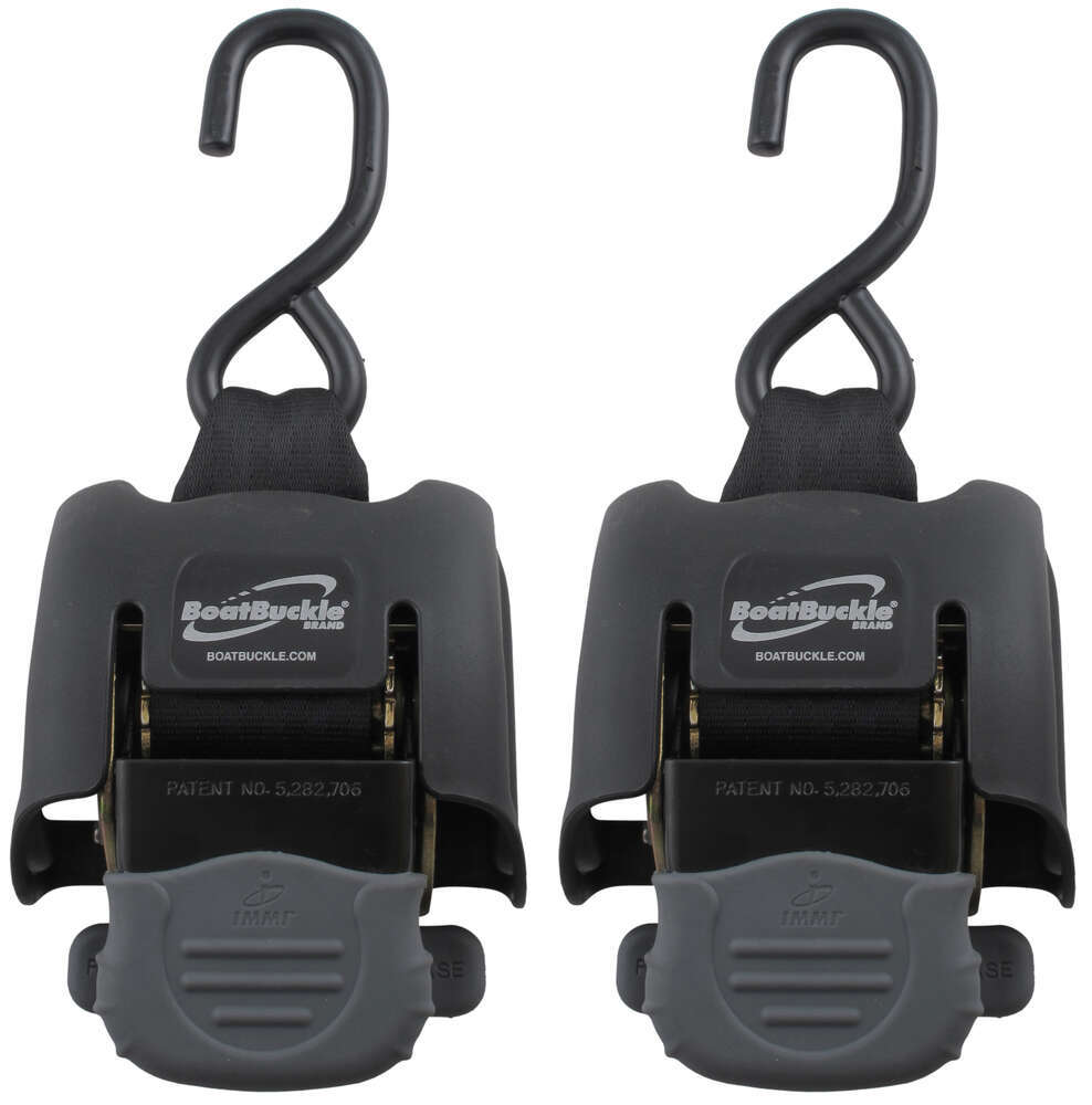 "BoatBuckle G2 Retractable, Ratcheting Transom Tie-Down Straps - 43"" Long - 833 lbs - Qty 2 Ratchet Strap IMF08893"