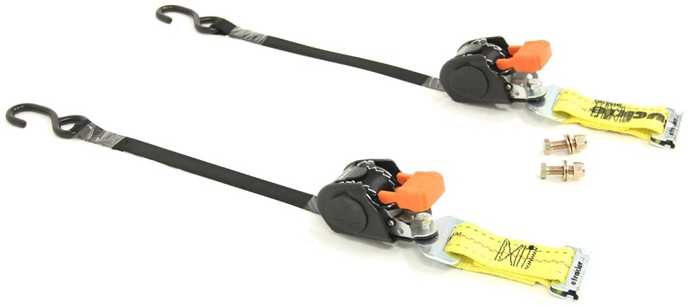 "CargoBuckle Mini G3 Retractable Ratchet Straps w E-Track Adapters - 1""x6' - 466 lbs - Qty 2 Retractable IMF103745-87"