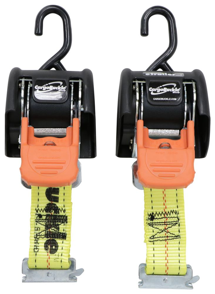 "CargoBuckle G3 Retractable Ratchet Straps w/ E-Track Adapters - 2"" x 6' - 833 lbs - Qty 2 E-Track Ends IMF18800-87"