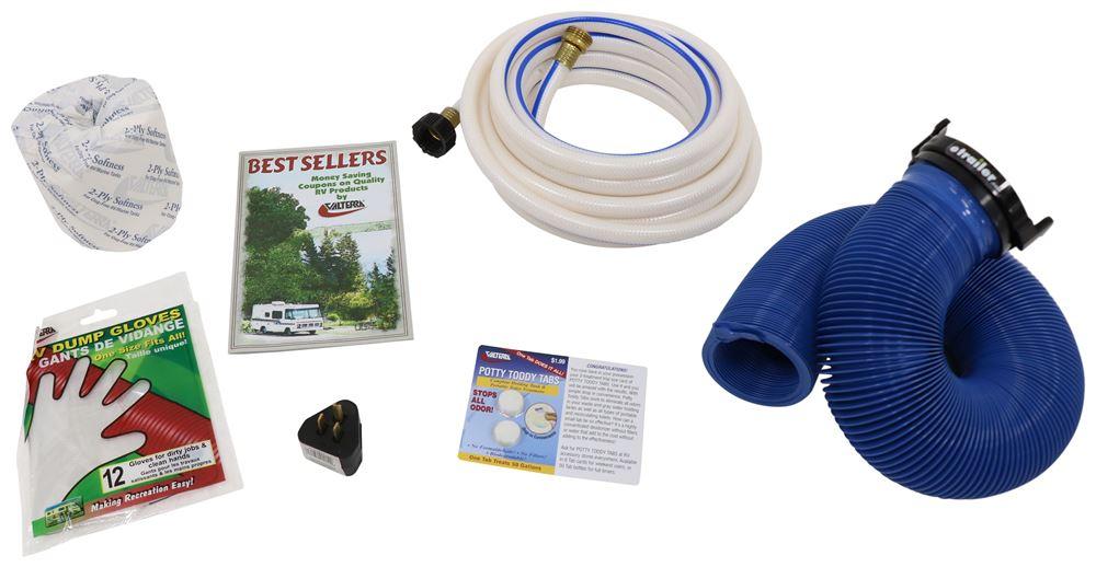 Valterra RV Starter Kit w/ Potty Toddy Tabs - 25' Fresh Water Hose - 10' Sewer Hose K88104