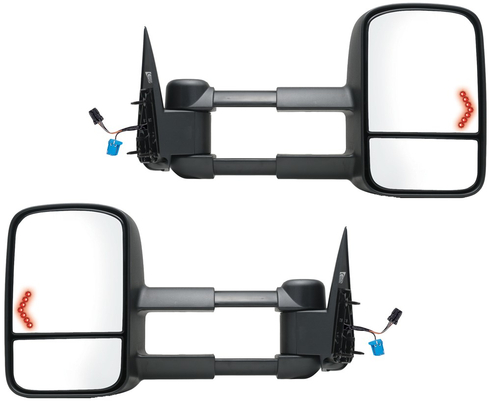K-Source Custom Extendable Towing Mirrors - Electric/Heat w LED Signal - Textured Black - Pair Pair of Mirrors KS62075-76G