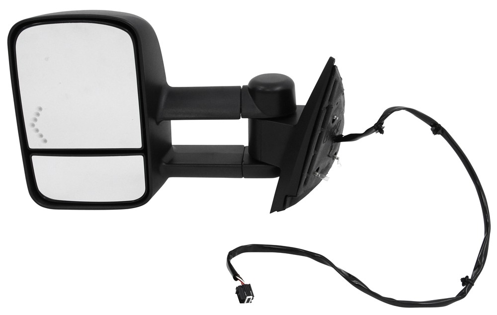 K-Source Custom Extendable Towing Mirror - Electric/Heat w LED Signal - Textured Black - Driver Heated KS62094G