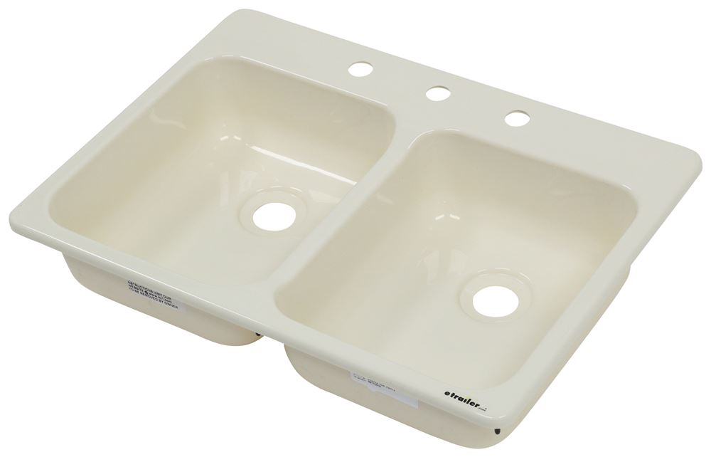 "Better Bath Double Bowl RV Kitchen Sink - 24-5/8"" Long x 17-1/8"" Wide - Parchment Parchment LC209401"