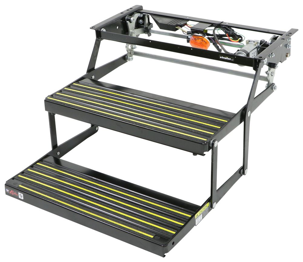 """Kwikee Revolution Electric RV Steps - Double - 8"""" Rise, 24-5/8"""" x 8-3/4"""" Bolt Pattern Electric Step LC3725791"""
