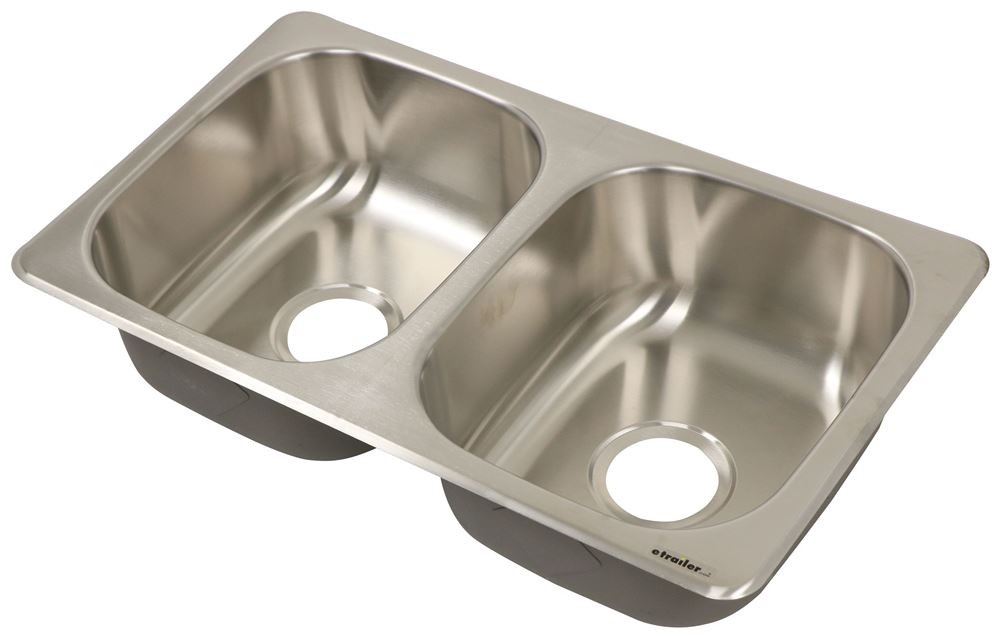"""Better Bath Double Bowl RV Kitchen Sink - 27-1/8"""" Long x 16-1/8"""" Wide - Stainless Steel 27 x 16 Inch LC388412"""