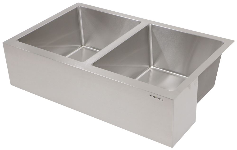 """Better Bath Double Bowl RV Kitchen Sink - 27-1/8"""" Long x 16-1/2"""" Wide - Stainless Steel Double Sink LC389911"""