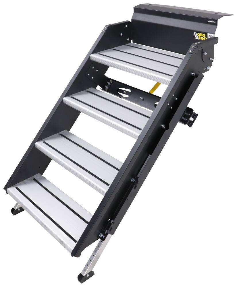 """SolidStep Manual Fold-Down Steps for 25"""" to 28-7/8"""" RV Door Frames - Quad - Aluminum Ground Contact LC791574"""