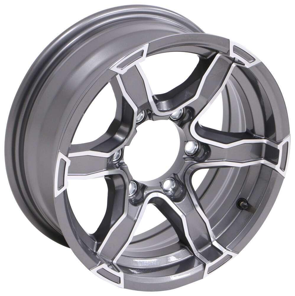 "Aluminum Liger Trailer Wheel - 15"" x 6"" Rim - 6 on 5-1/2 - Gunmetal Gray 15 Inch LH37FR"