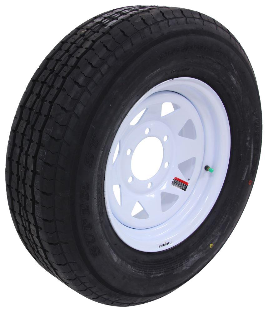 "Westlake ST225/75R15 Radial Trailer Tire w/ 15"" White Spoke Wheel - 6 on 5-1/2 - Load Range E 15 Inch LHAW126"