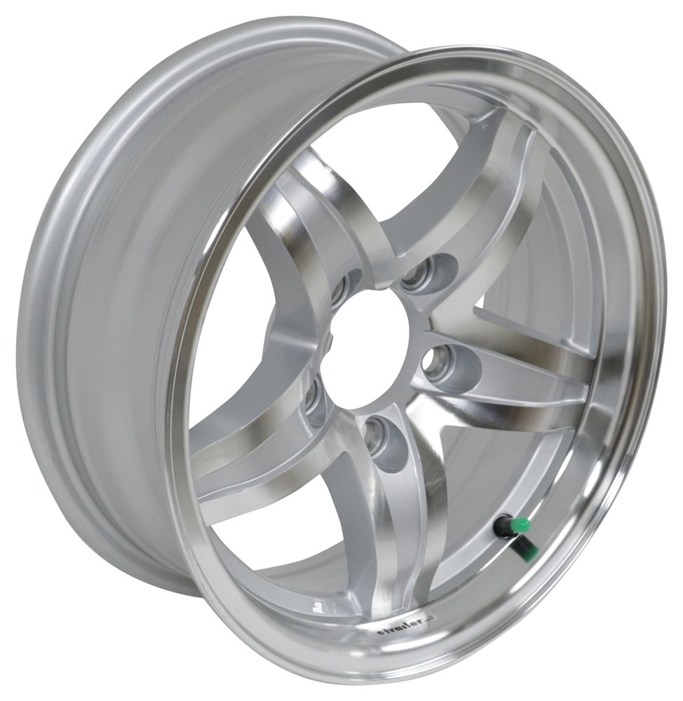 "Aluminum Lynx Trailer Wheel - 14"" x 5-1/2"" Rim - 5 on 4-1/2 - Silver Aluminum Wheels,Boat Trailer Wheels LHSL211"